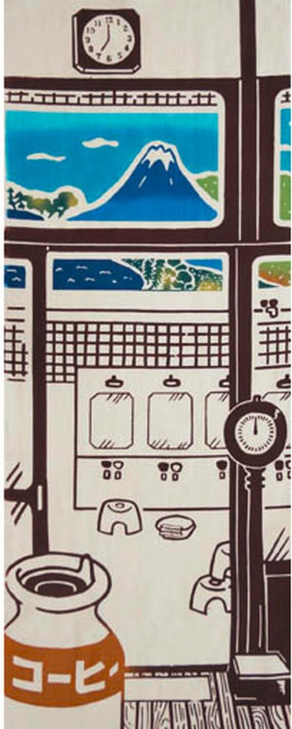 Japanese onsen spa & Mt  Fuji, Japanese Tenugui towel Cotton fabric, Unique  Japanese art Wall Hanging Tapestry, Modern Japanese decor gift