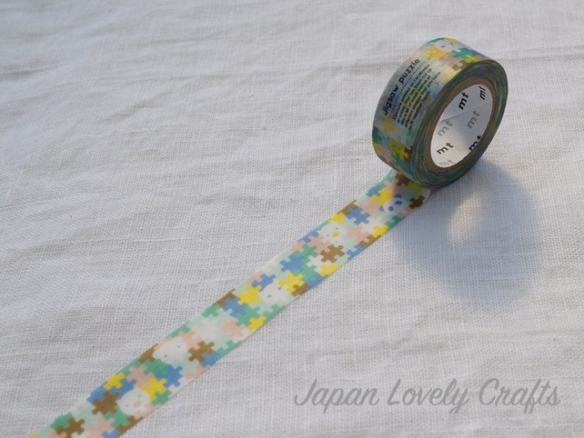 Kawaii  Jigsaw Puzzle, Japanese Washi Paper Masking Tape, mt for kids, Adhesive Deco Tape, Card Decoration, Journal Tape, Planner Supply