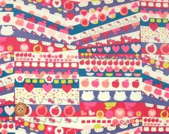 Liberty Tana Lawn Fabric, Liberty Japan Limited, Half Moon Hello Kitty, Liberty Print Cotton Scrap, Cute Patchwork Quilt Fabric, ntkitty36f