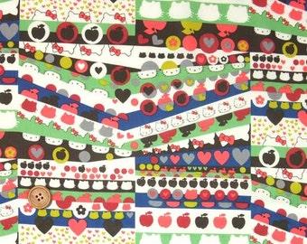 Liberty Tana Lawn Fabric, Liberty Japan Limited, Half Moon Hello Kitty, Liberty Print Cotton Scrap, Kawaii Patchwork Quilt Fabric, 37f