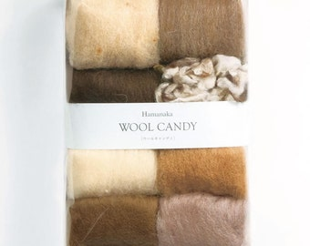 Japanese Needle Wool Felt 8 Colors Set, Japanese Felting Wool Set, Antique Brown, Solid, Natural Blend - Colorful Candy Hamanaka - F53