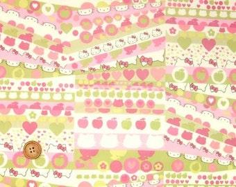 Liberty Tana Lawn Fabric - Liberty Japan Limited, Half Moon Hello Kitty, Liberty Print Cotton Scrap, Kawaii Patchwork Quilt Fabric, 35f