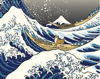 Japanese Tenugui Cotton Fabric, Hand Dyed Fabric, Shiba Inu Dog, Big Wave, Ukiyoe Style Design, Cute Wall Art Hanging, Dog Lovers Gift, h149