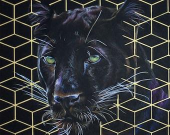 Original Black Panther Drawing + FREE 5x7 Print