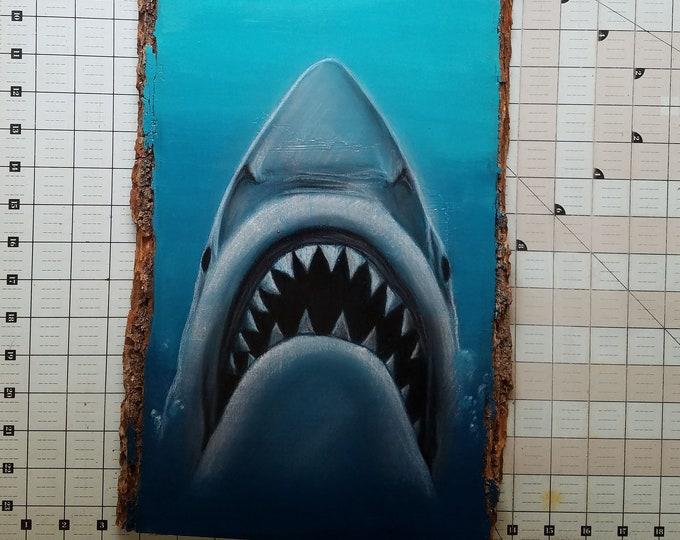 Jaws Original Art on Wood
