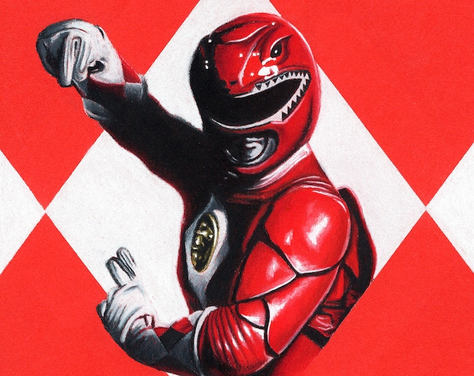 Red Ranger Original Pastel Drawing