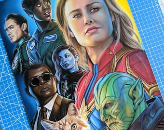 Captain Marvel Pastel Drawing