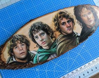 Hobbits Original Drawing on Wood
