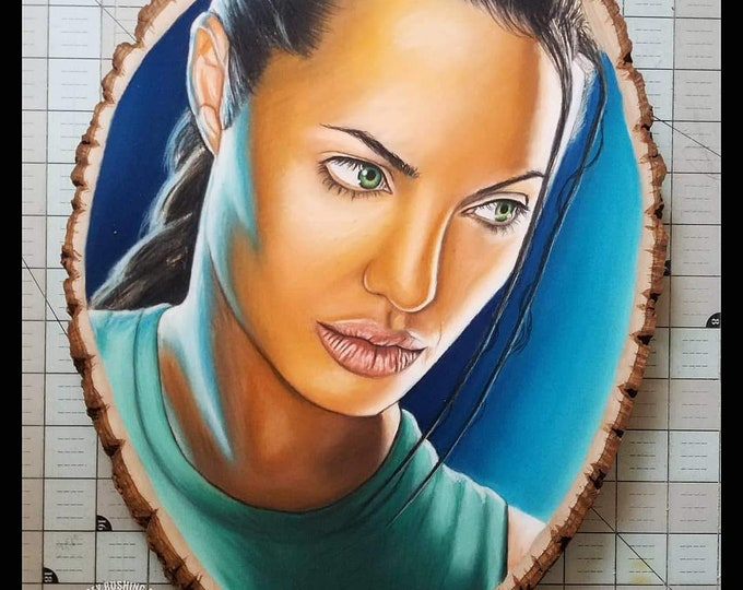 Lara Croft Tomb Raider Original Drawing on Wood