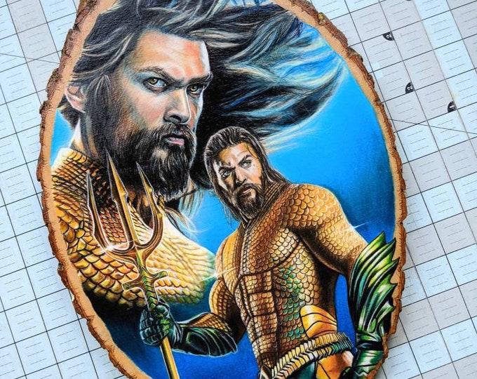 Aquaman Original Wood Drawing