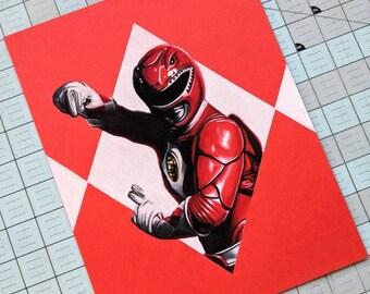 Red Ranger Original Pastel Drawing
