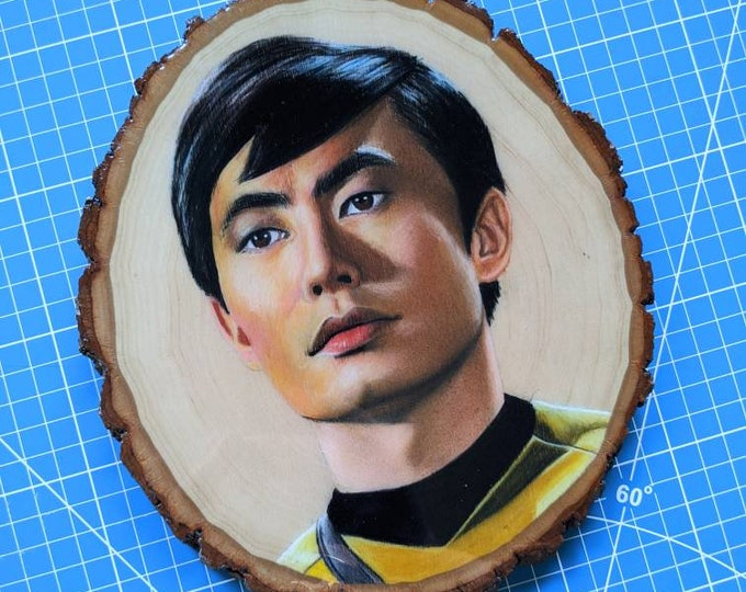 Sulu Drawing on Wood