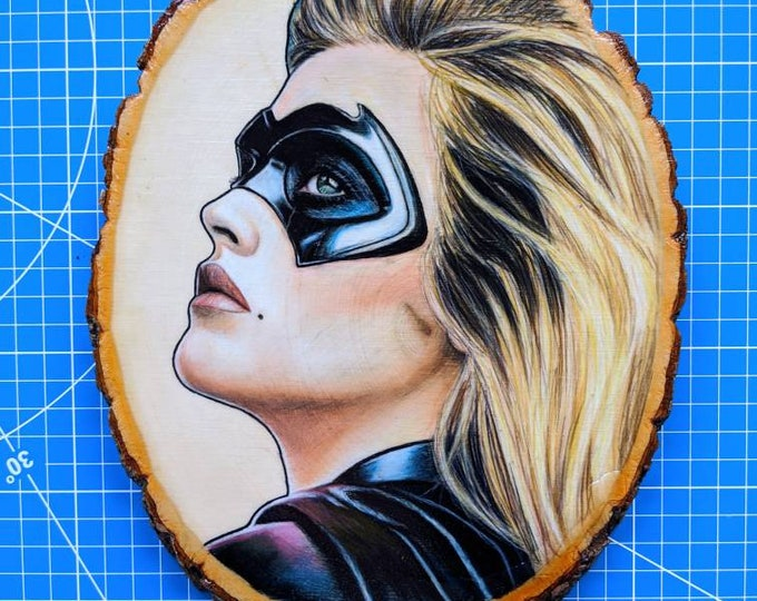 Batgirl Drawing on Wood