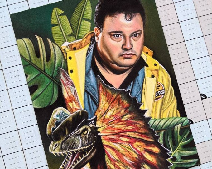 Dennis and Dilophosaurus Original Pastel Drawing