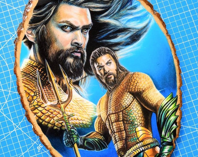 Aquaman Original Wood Drawing