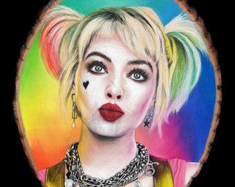 Harley Quinn Original Drawing on Wood