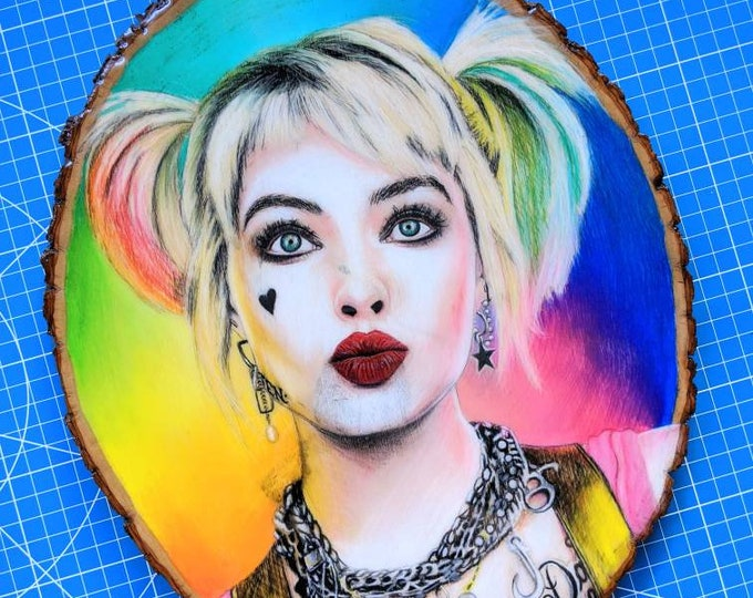 Harley Quinn Original Drawing on Wood