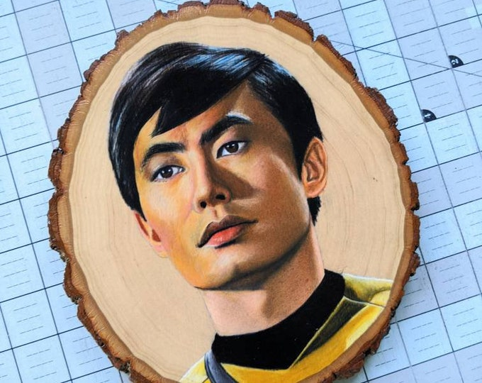 Sulu Drawing on Wood