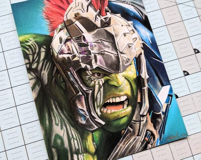 Hulk Original Pastel Drawing