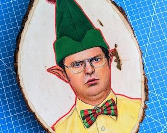Christmas Elf Dwight Original Wood Art
