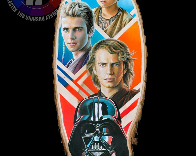 Anakin Skywalker/Darth Vader Drawing on Wood