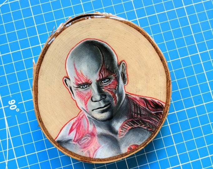 Drax Drawing on Birch Wood