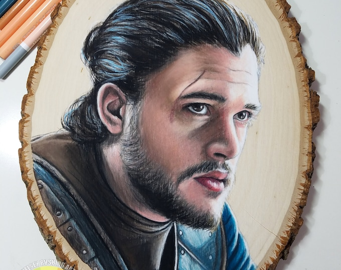 Jon Snow Drawing on Wood