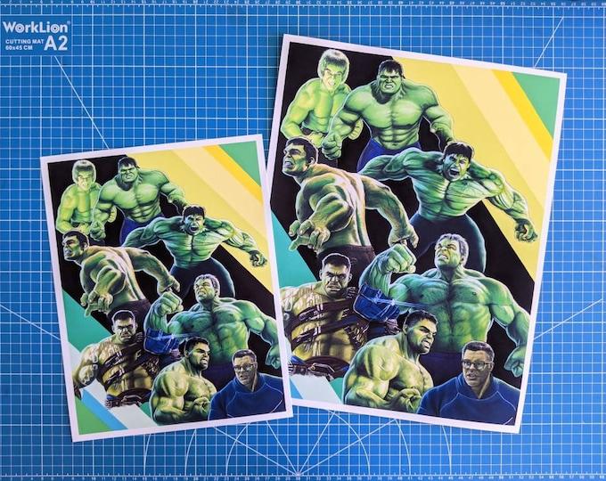 Featured listing image: Evolution of the Hulk Art Print