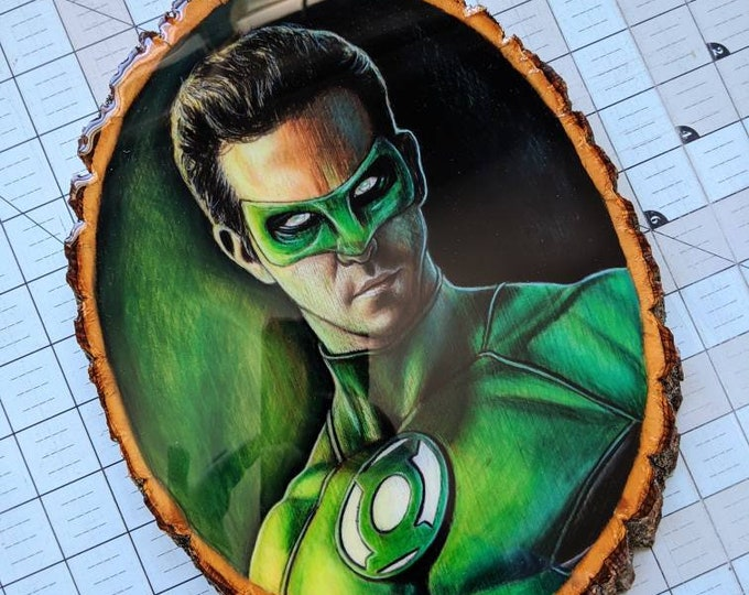 Green Lantern Original Drawing on Wood
