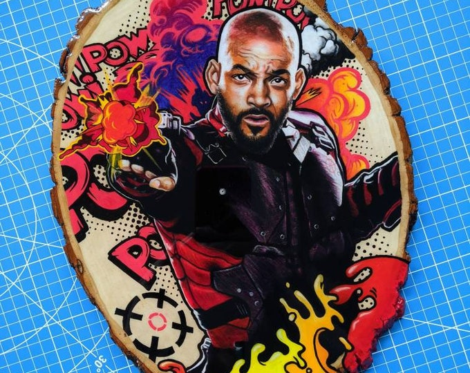 Deadshot Mixed Media Drawing on Wood