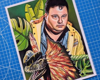Dennis and Dilophosaurus Art Print