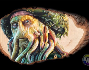Davy Jones Original Drawing on Wood