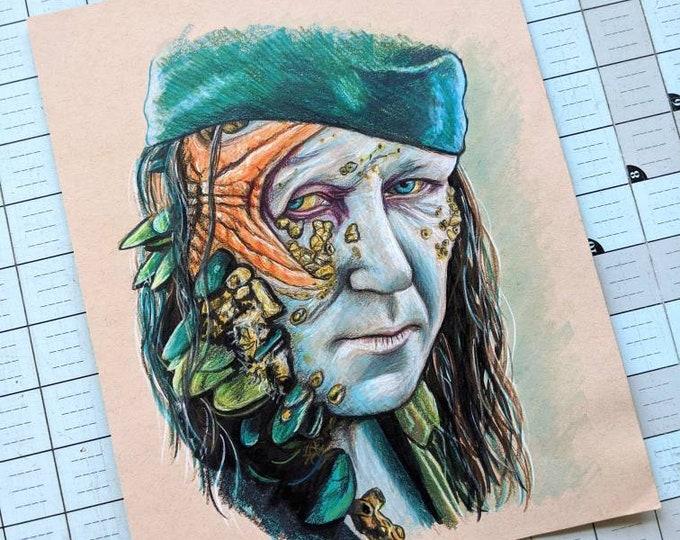 Bootstrap Bill Original Colored Pencil/Marker Drawing