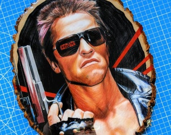 Terminator Original Drawing on Wood