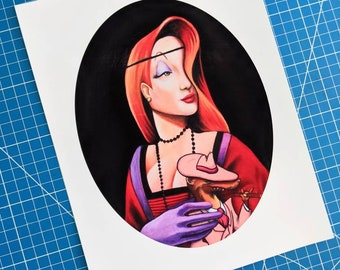 Lady With A Weasel Art Print