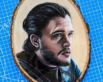 Jon Snow Drawing on Wood