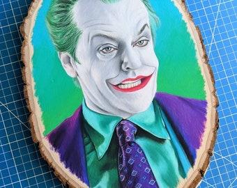 The Joker Original Drawing on Wood