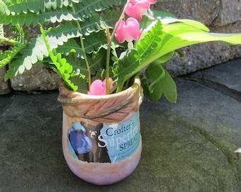 Upcycled Cottage Chic Jelly Jar Flower Vase, Shabby Chic Decor, Whimsical Black Bear