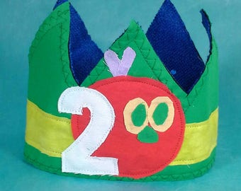Shabby Chic Caterpillar Birthday Crown Second C256 2nd Party Hat