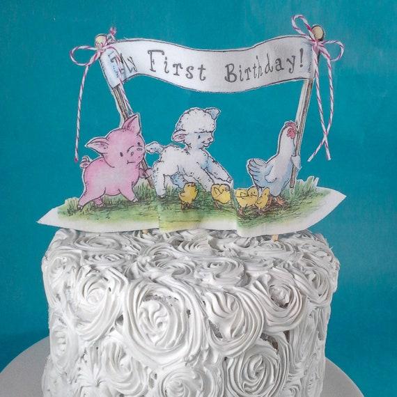 Farm Animal Theme Birthday Cake Topper Pig Chicken Lamb Etsy