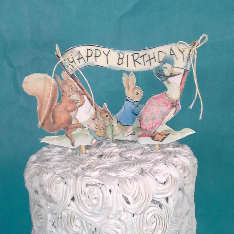 Fabulous Shabby Chic Peter Rabbit Cake Topper Fabric Peter Rabbit Etsy Personalised Birthday Cards Cominlily Jamesorg