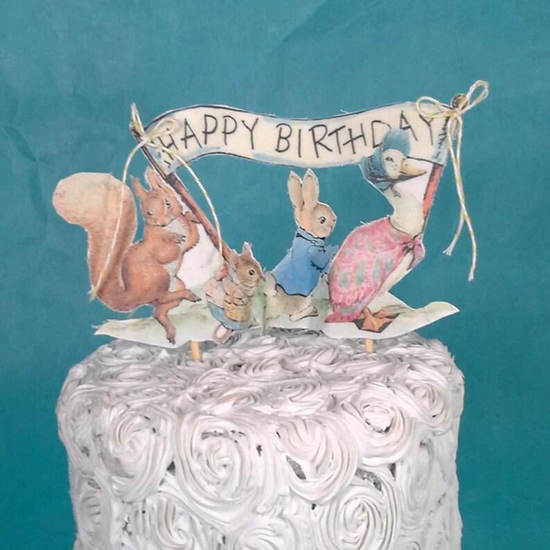 Enjoyable Shabby Chic Peter Rabbit Cake Topper Fabric Peter Rabbit Etsy Birthday Cards Printable Inklcafe Filternl