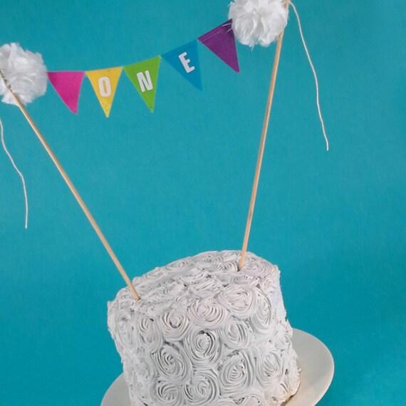 Rainbow Cake Banner Smash Birthday