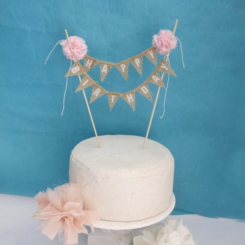 Rustic Burlap Cake Banner Pink Birthday Bunting