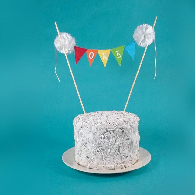 Rainbow Cake Banner Smash Birthday BannerONE G131