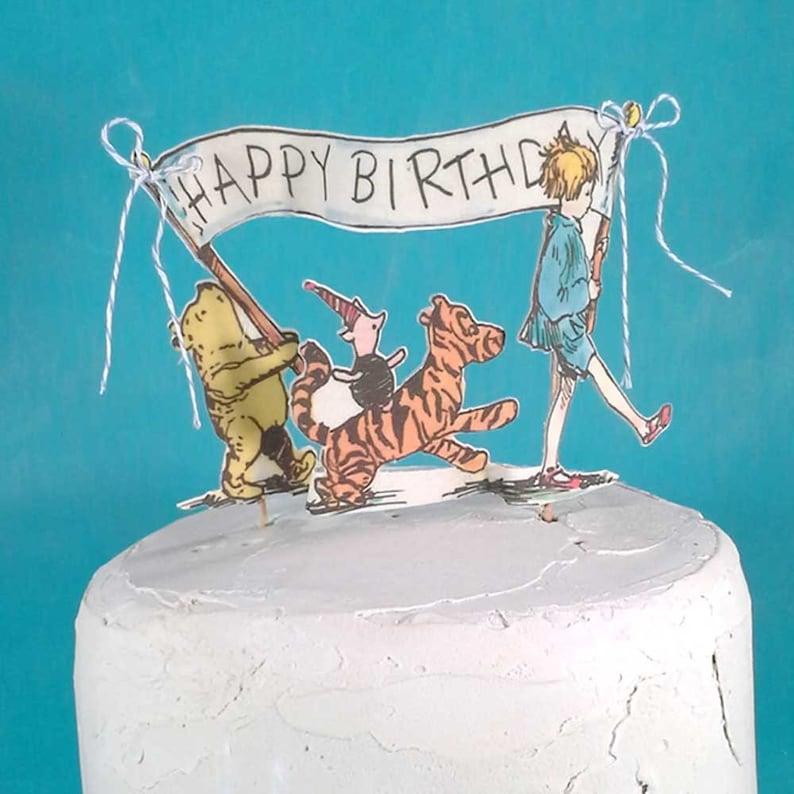 Fine Classic Pooh Bear Cake Topper Fabric Winnie The Pooh Birthday Etsy Funny Birthday Cards Online Aeocydamsfinfo