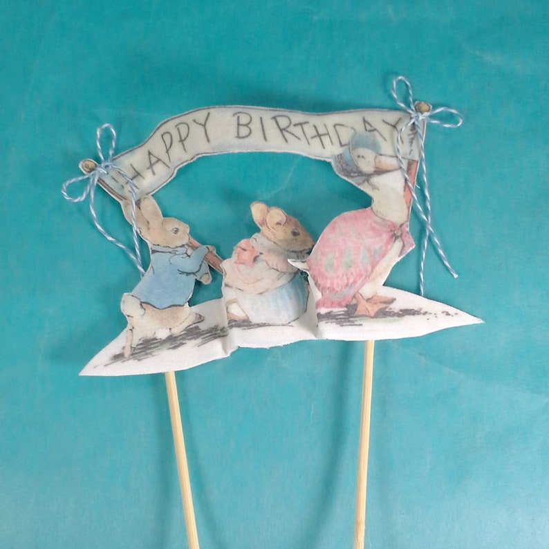 fabric Peter Rabbit First birthday party decoration K191 Shabby Chic Peter Rabbit cake topper