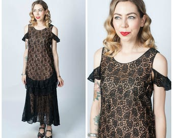 Vintage 1920's Black Lace and Pink Dress/ 20's Lace Illusion Dress/ Flapper Dress Size X-small/Small