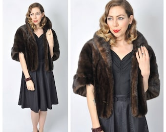 Vintage 1950's Dark Brown Mink Fur Stole/50's Deep Chocolate Brown Mink Fur Cape Coat/ Mink Fur Wedding Stole