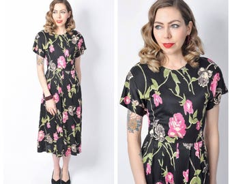 Vintage 1940's Rose print Rayon Jersey Dress/ 40's Floral Print Dress Size Large